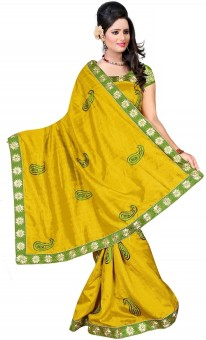 Bollywood Saree Self Design Embroidered Embellished Chiffon Sari