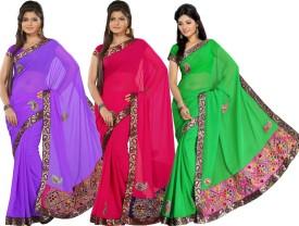 Silkbazar Self Design Embroidered Embellished Georgette Sari (Pack Of 3)
