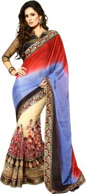 Natwar Creations Embriodered Fashion Georgette Sari (Multicolor)