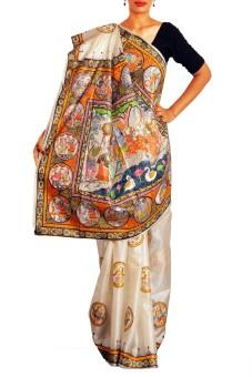 Unnati Silks Self Design Bollywood Handloom Tussar Silk Sari