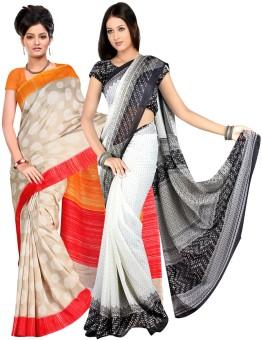Combo Deals Printed Fashion Chiffon, Silk Sari Pack Of 2