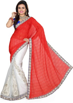 Saree Swarg Self Design Embroidered Embellished Net, Jacquard Sari