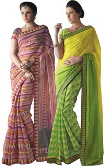 Aesha Printed Daily Wear Art Silk Sari Pack Of 2