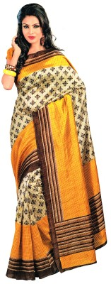 Bhagalpuri Natwar Creations Printed Bhagalpuri Art Silk Sari (Yellow)