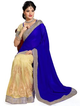 Saree Swarg Self Design Embroidered Embellished Net, Georgette Sari