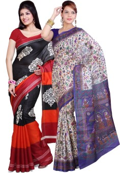 Ishin Solid Fashion Art Silk Sari (Pack Of 2)