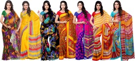 Ambaji Floral Print, Striped, Printed Daily Wear Georgette, Chiffon Sari Pack Of 7