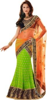Triveni Self Design Lehenga Saree Machine Georgette, Net Sari