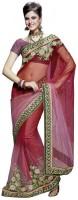 Fashionista Floral Print Embellished Net Sari