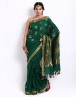 Platinum Printed Embellished Chanderi Sari