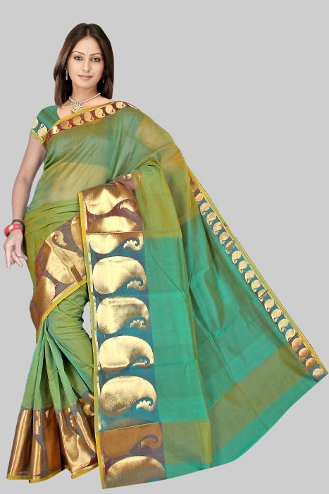 Pavechas Mangalagiri Floral Print Cotton Sari