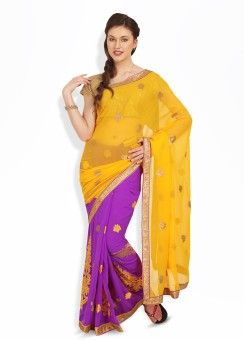 Satrang Plain Chiffon, Synthetic Sari