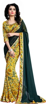 Oomph! Embriodered, Plain, Embellished, Printed, Floral Print, Geometric Print Fashion Chiffon Sari Green