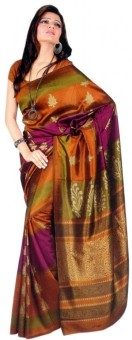 Sunaina Striped Silk, Synthetic Sari: Sari