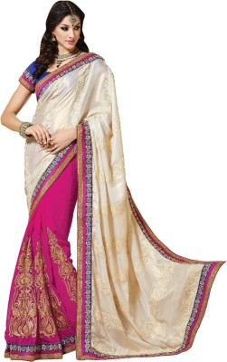 Fashion Craftstrail Fashion Self Design Fashion Net Sari (White)