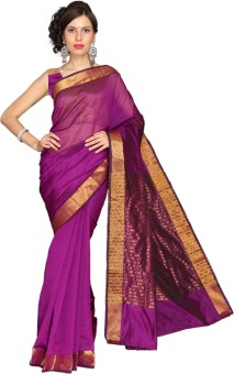 Vastrakala Solid, Striped Embellished Cotton, Silk Sari