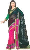 Bhavi Checkered Embroidered Embellished Brasso Sari