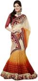 Kpcreation Embriodered, Floral Print Lehenga Saree Handloom Net, Velvet, Satin Sari
