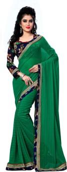 Oomph! Plain, Printed, Geometric Print, Embriodered Bollywood Chiffon Sari Green