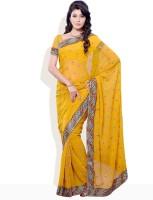 Diva Fashion Printed Embroidered Georgette Sari