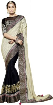 Ruddhi Self Design Embroidered Embellished Georgette, Jacquard Sari