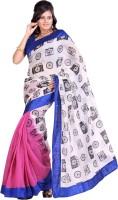 Cbazaar Printed Embroidered Embellished Art Silk Sari