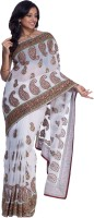 Cbazaar Floral Print Embroidered Embellished Georgette Sari