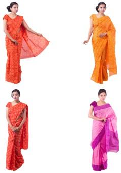 Fab Rajasthan Printed Bandhani Handloom Cotton Sari Pack Of 4