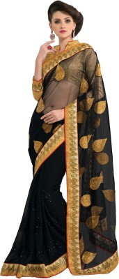 MS Retail Self Design Fashion Net, Chiffon Sari