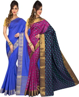 Radha Silk Emporium Printed Fashion Handloom Cotton Sari Pack Of 2