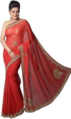Aarti Saree Aarti Saree Self Design Fashion Handloom Chiffon Sari (Red)