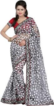 Bunny Sarees Floral Print Embroidered Brasso Sari