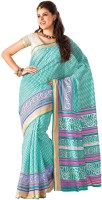 Sudarshan Silks Geometric Print Embellished Cotton Sari - SARDVD5QVEHGZCJZ