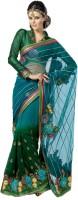 Cbazaar Floral Print Embroidered Embellished Net, Georgette Sari