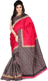 Roopkala Silks Printed Fashion Poly Silk Sari Red