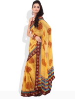 Seymore Geometric Print, Striped Synthetic Sari