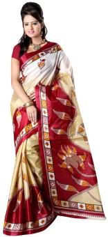 Moon Sarees Polka Print Murshidabad Handloom Art Silk Sari