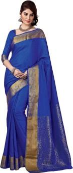 Rajshri Fashions Plain Banarasi Silk, Art Silk, Banarasi Silk Sari Blue
