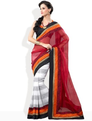 Fabdeal Solid Embroidered Net Sari available at Flipkart for Rs.5340