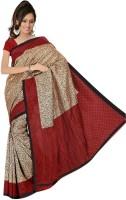 Rangmanch Geometric Print, Floral Print Silk Sari