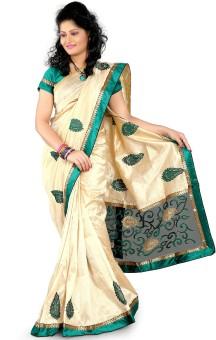 Ansu Fashion Self Design Embroidered Embellished Art Silk Sari