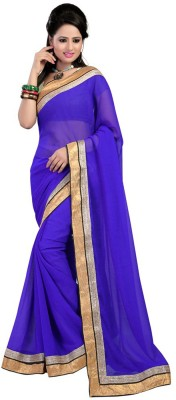 Fashion Fabuloue Self Design Fashion Chiffon Sari (Blue)