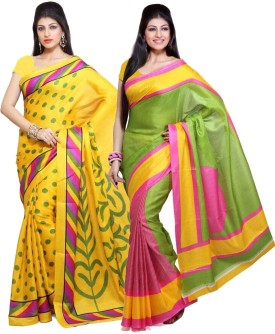 EthnicPark Printed Bhagalpuri Handloom Art Silk Sari Pack Of 2