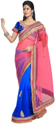 Fabdeal Solid Embroidered Embellished Net Sari available at Flipkart for Rs.6969
