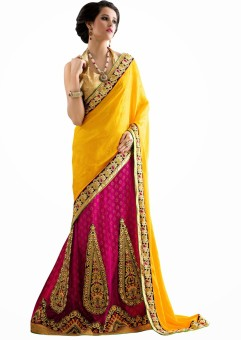 Aasvaa Self Design Lehenga Saree Jacquard Sari