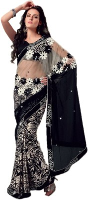 Fabdeal Printed Embroidered Embellished Net Sari available at Flipkart for Rs.4989