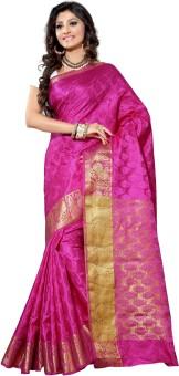 Alankrita Self Design Kanjivaram Silk, Art Silk, Jacquard, Brasso Sari Pink
