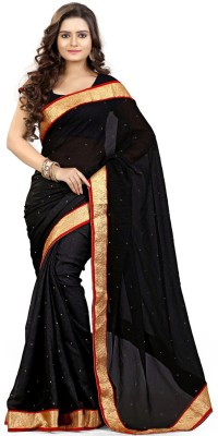 Gc GC Solid Daily Wear Chiffon Sari (Black)