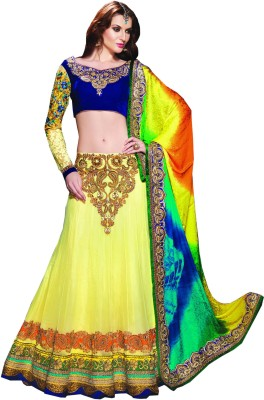 Ruddhi Self Design Lehenga Saree Net Sari (Multicolor)