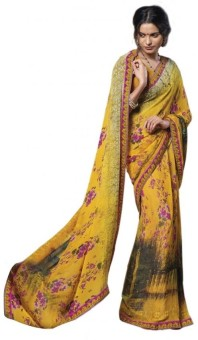 Laxmipati Sarees Self Design, Floral Print Fashion Georgette Sari
